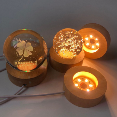 USB powered high light wooden luminous base for display