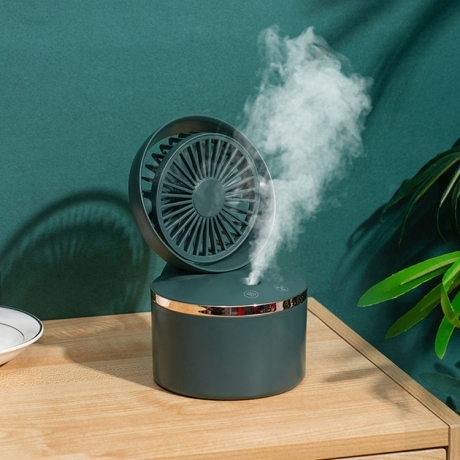Portable classical color design rechargeable humidifier spray mini fan (No.JS-F01)