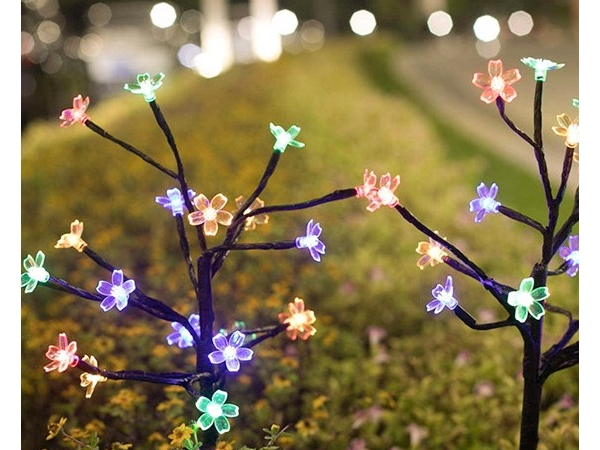LED solar energy ground inserted with cherry blossom tree branch light string outdoor courtyard Chri