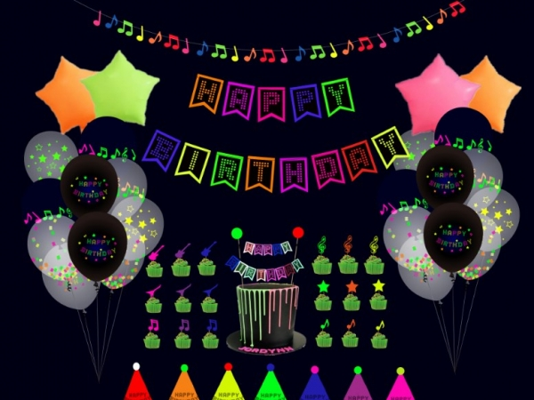 Fluorescent decoration set for birthday party to create a party atmosphere