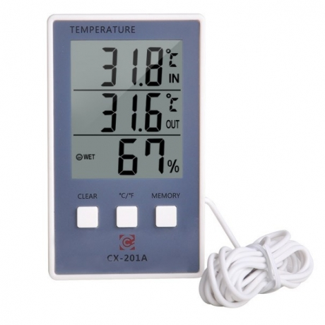 Indoor and outdoor dual display temperature and humidity meter with probe