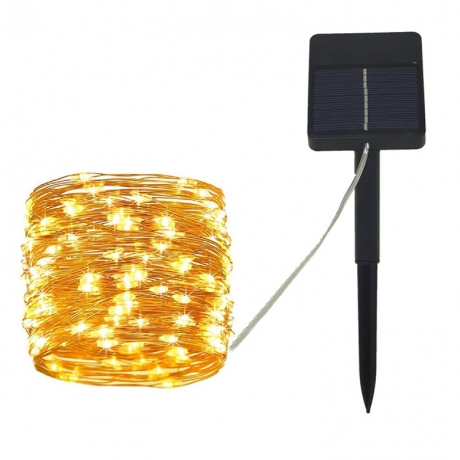 Solar powered light up copper wire LED automatically string lamp (No.ML-SW100)