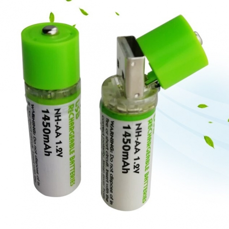 Rechargeable AA battery with USB interface