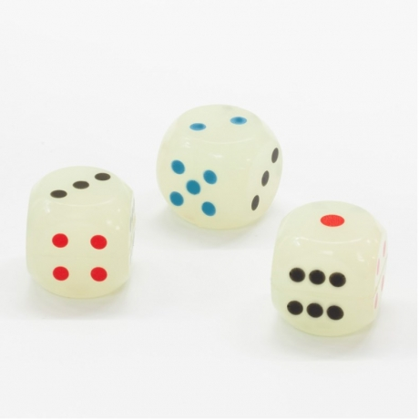 Luminous glow dice in the darkness