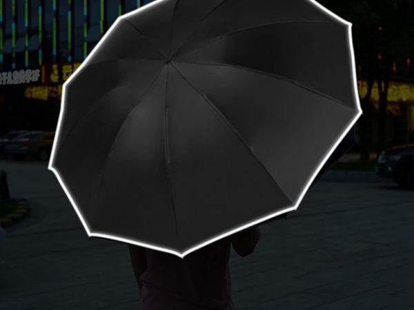 Full automatic reverse umbrella with reflective material and LED lighting