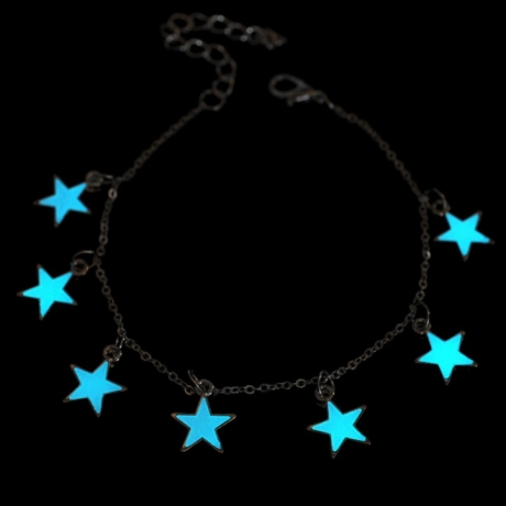 Temperament luminous silver plated bracelet or anklet glowing in the dark