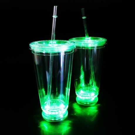 Multiple light color LED flashing plastic cap cup with straw (No.GFE-0920)