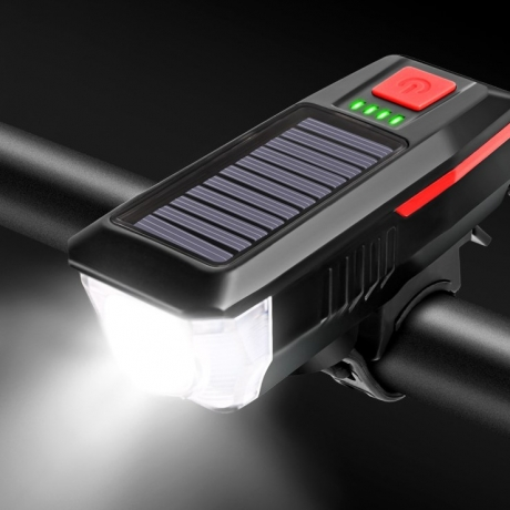 solar bicycle front lamp with warning horn