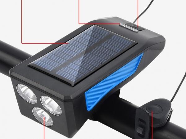 Solar bicycle headlight with horn solar bike lamp